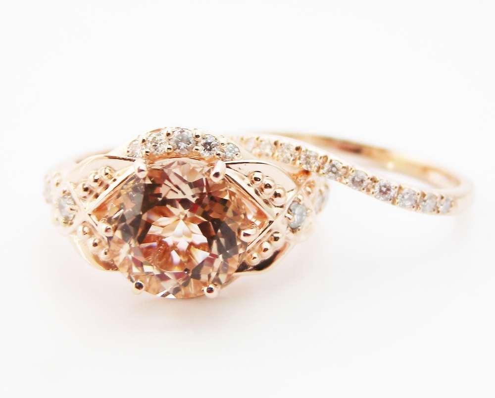 Floral Morganite Engagement Ring Diamond Wedding Band Bridal Set in 14k Rose Gold Custom Engagement Ring