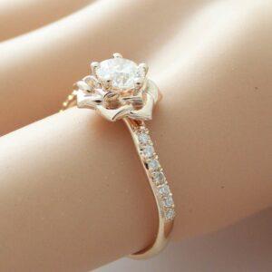 14K Rose Gold Diamond Engagement Ring 0.40ct Natural Diamond Rose Gold Flower Engagement Ring