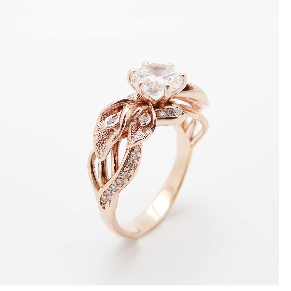 Calla Lily Moissanite Engagement Ring 14K Rose Gold Moissanite Ring Unique Engagement Ring