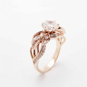 18K Rose Gold Diamond Engagement Ring Calla Lily Unique Engagement Ring Natural Clarity Enhanced 3/4 Carat Diamond Ring