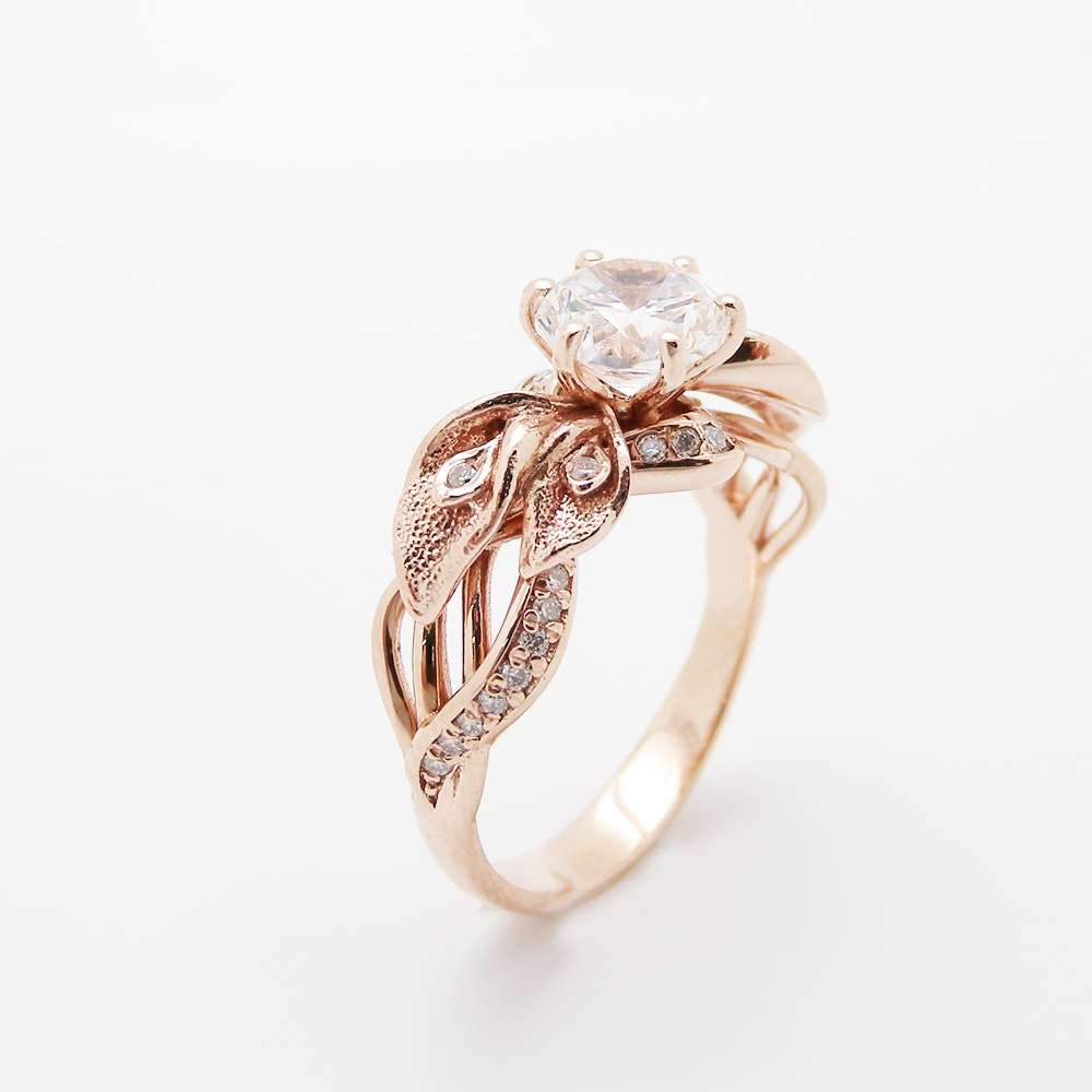 18K Rose Gold Clarity Enhanced Diamond Engagement Ring Calla Lily Uni