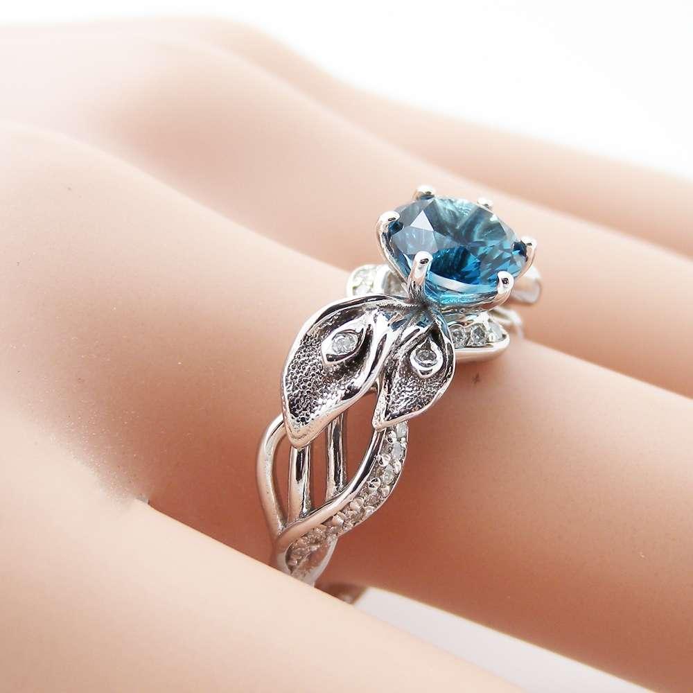 Vintage Ring London Blue Topaz Ring Diamond Antique Milgrain 14K White Gold December Birthstone Gemstone Ring