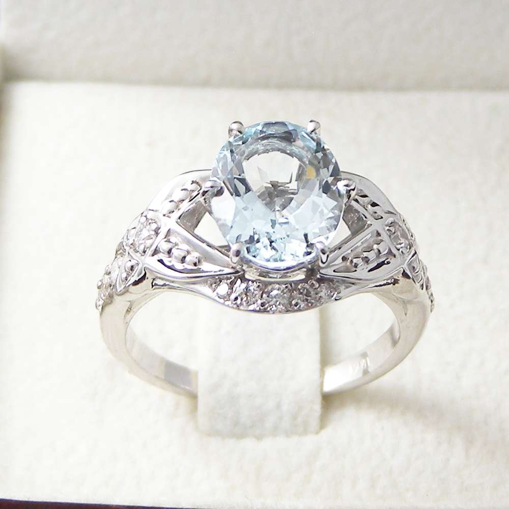 14K White Gold Aquamarine Engagement Ring-Oval Engagement Ring-Aquamarine Engagement Ring Oval Cut March Birthstone
