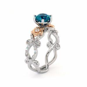 Blue Diamond Engagement Ring Unique Flowers Engagement Ring 14K White & Rose Gold Ring