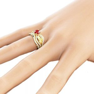 Calla Lily Ruby Vintage Ring Set 14K Yellow Gold Vintage Rings Unique Natural Diamonds and Ruby Rings