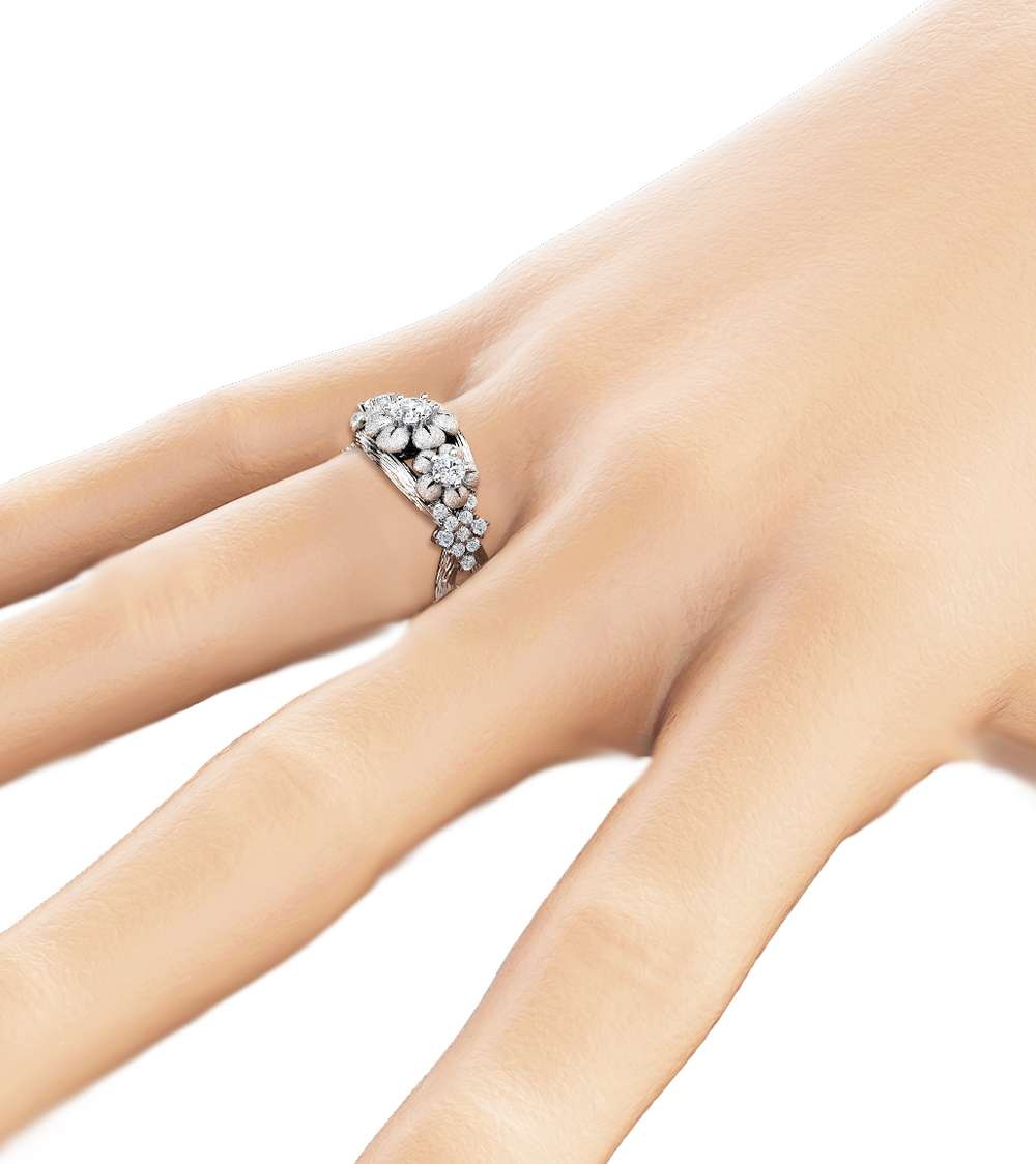 Three Stone Diamond Engagement Ring 14K White Gold Branch Ring Floral Diamond Engagement Ring