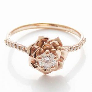 Diamond Rose Engagement Ring by Camellia Jewelry Flower Ring in 14K Gold Engagement Rose Ring