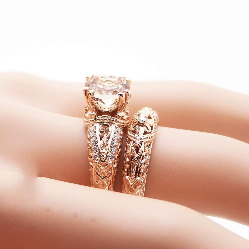 14K Rose Gold Morganite Engagement Ring Vintage Engagement Ring Unique Retro Engagement Ring