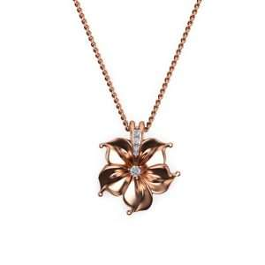14K Rose Gold Diamond Pendant,Designer Pendant,Flower Pendant,Gold necklace,Diamond necklace,Flower necklace , Uniqe  Pendant ,Solid Gold.