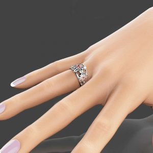 14K White Gold Ruby Ring Gemstone Ring Red Ruby Ring Ruby Anniversary Ring Flowers Anniversary Ring
