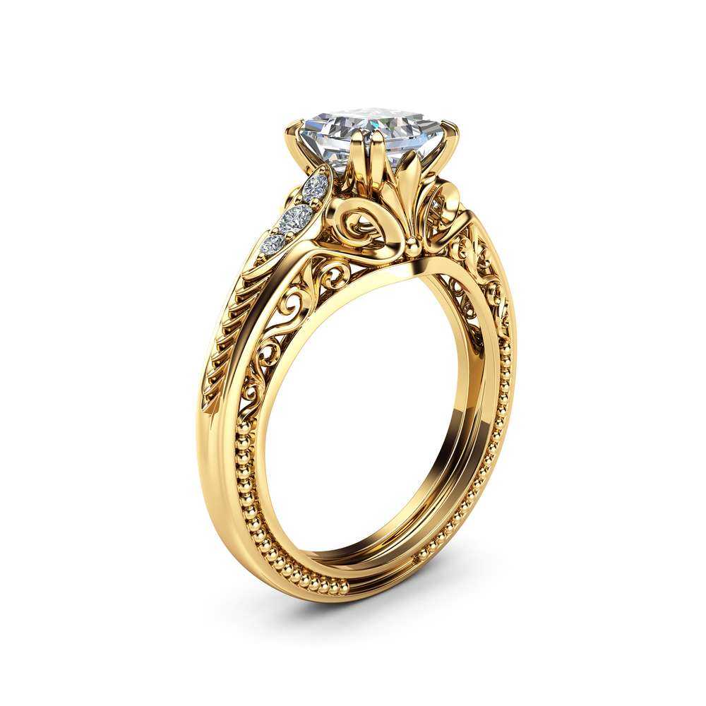 Square Moissanite Victorian Engagement Ring Princess Moissanite Engagement Ring 14K Yellow Gold Victorian Ring