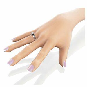 Halo Engagement Ring 14K White Gold Ring Diamonds Halo Ring Unique Petal Ring Filigree Ring