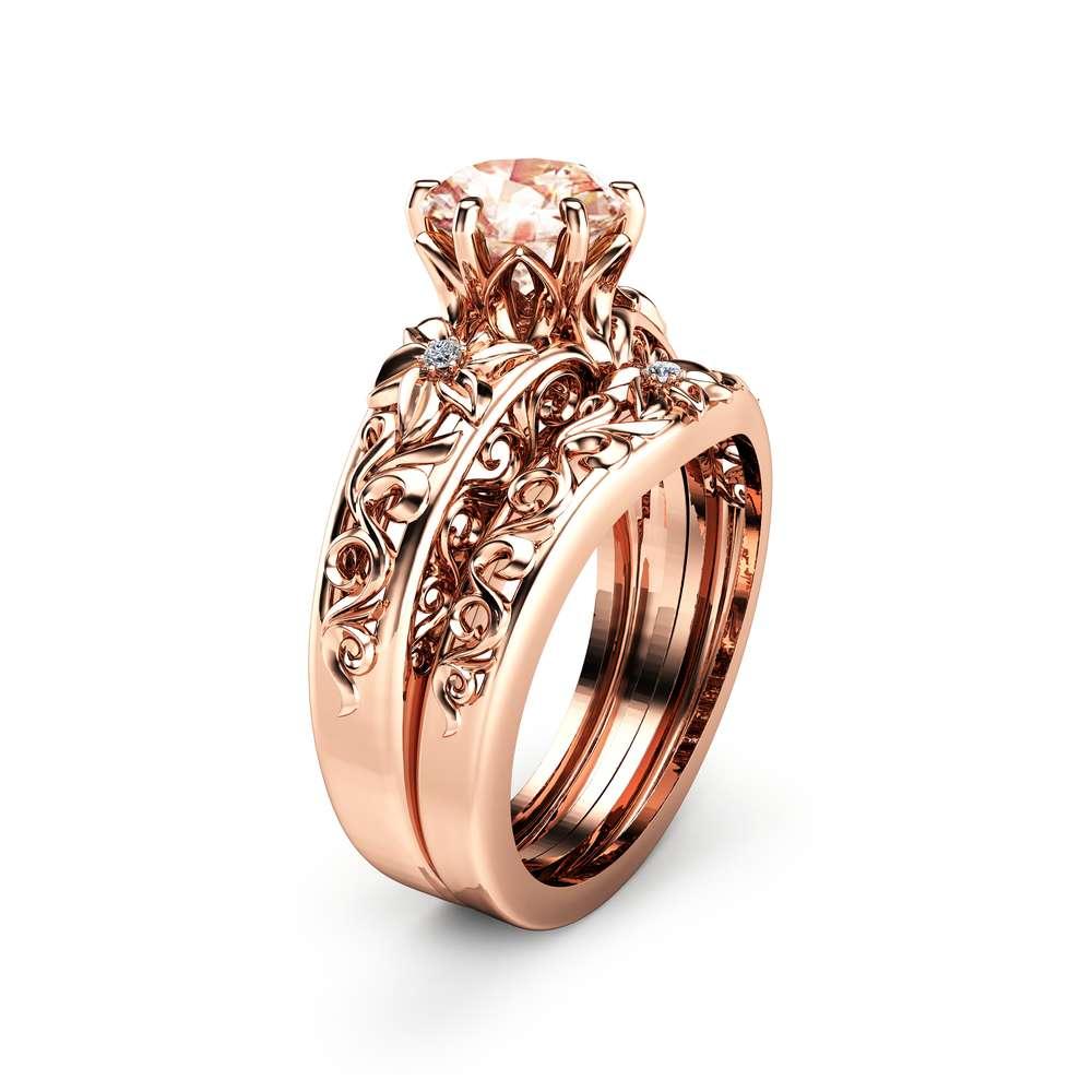 Morganite Wedding Ring Set 14K Rose Gold Morganite Rings Unique Engagement Rings Rose Gold Wedding Rings