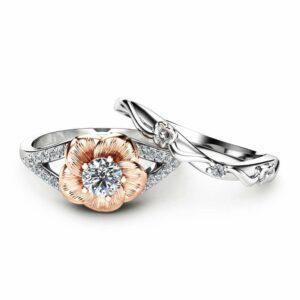 Natural Diamond Engagement Ring Set 14K Two Tone Gold Rings Diamond Flower Rings Unique Engagement Rings