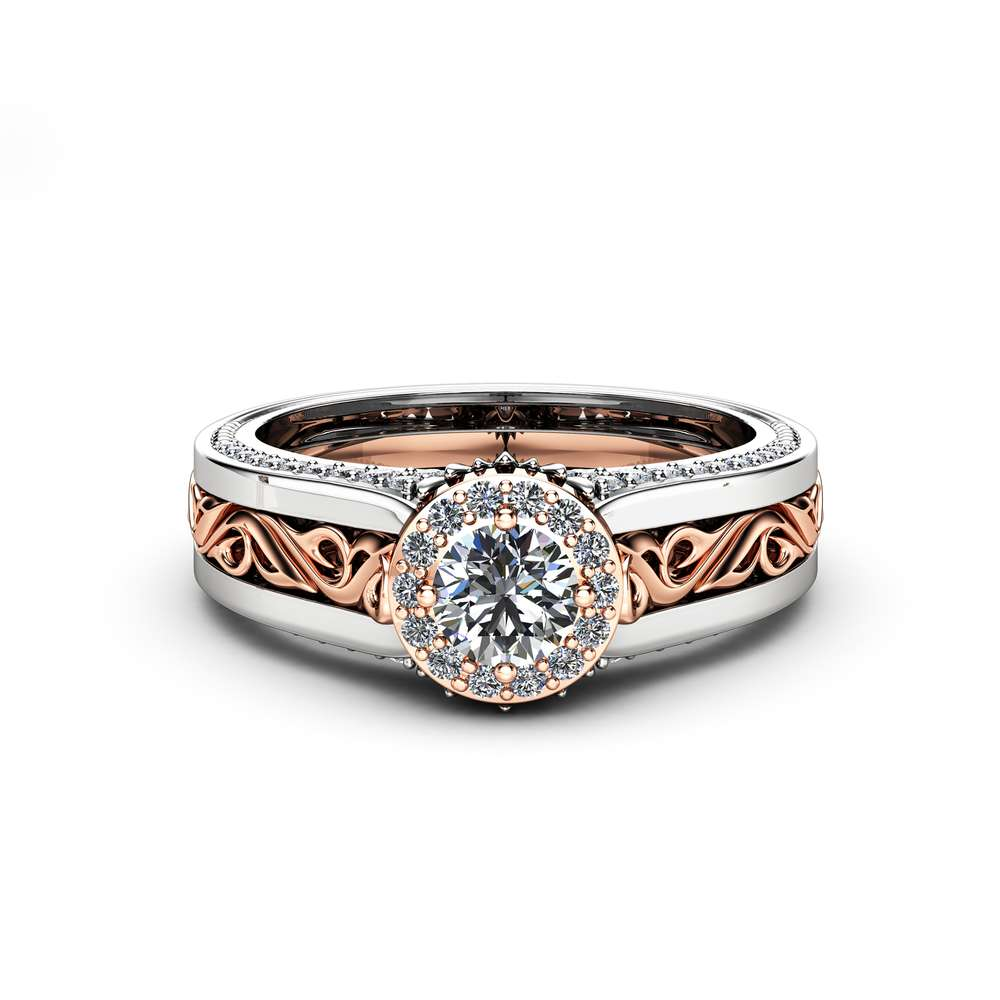 Halo Diamond Engagement Ring in 14K White And Rose Gold Unique Halo Natural Diamond Engagement Ring