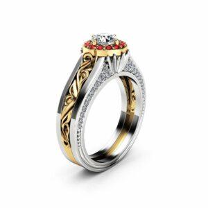 Halo Diamond Engagement Ring 14K White Yellow Gold Unique Ruby Halo Engagement Ring Half Carat Diamond Vintage Engagement Ring