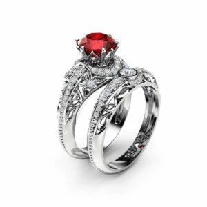Ruby Engagement Ring Set 14K White Gold Diamonds Rings Ruby Ring and Matching Diamond Wedding Band Fine Jewelry