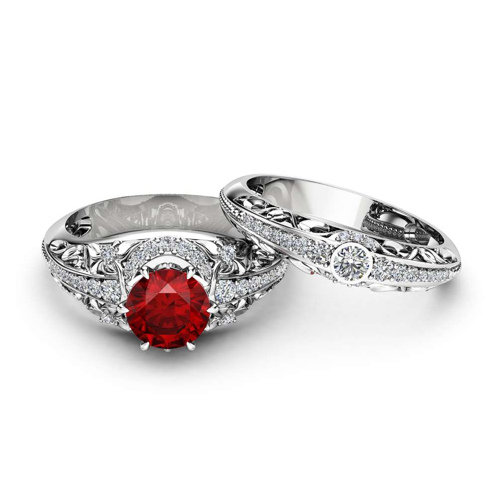 Ruby Engagement Ring Set 14K White Gold Diamonds Rings Ruby Ring and Matching Diamond Wedding Band Fine Jewelry