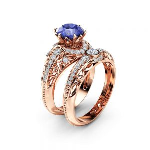 Tanzanite Engagement Ring Set 14K Rose Gold Diamonds Rings Tanzanite Ring and Matching Diamond Wedding Band Fine Jewelry