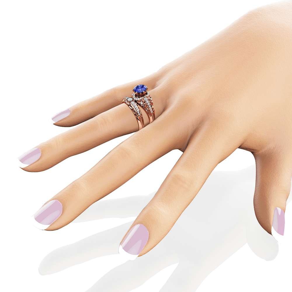 Tanzanite Engagement Ring Set 14K Rose Gold Diamonds Rings Tanzanite Ring and Matching Diamond Wedding Band Fine Jewelry