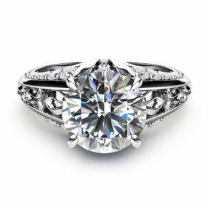 2ct Moissanite Engagement Ring 14K White Gold Engagement Ring Unique Diamonds Moissanite Ring