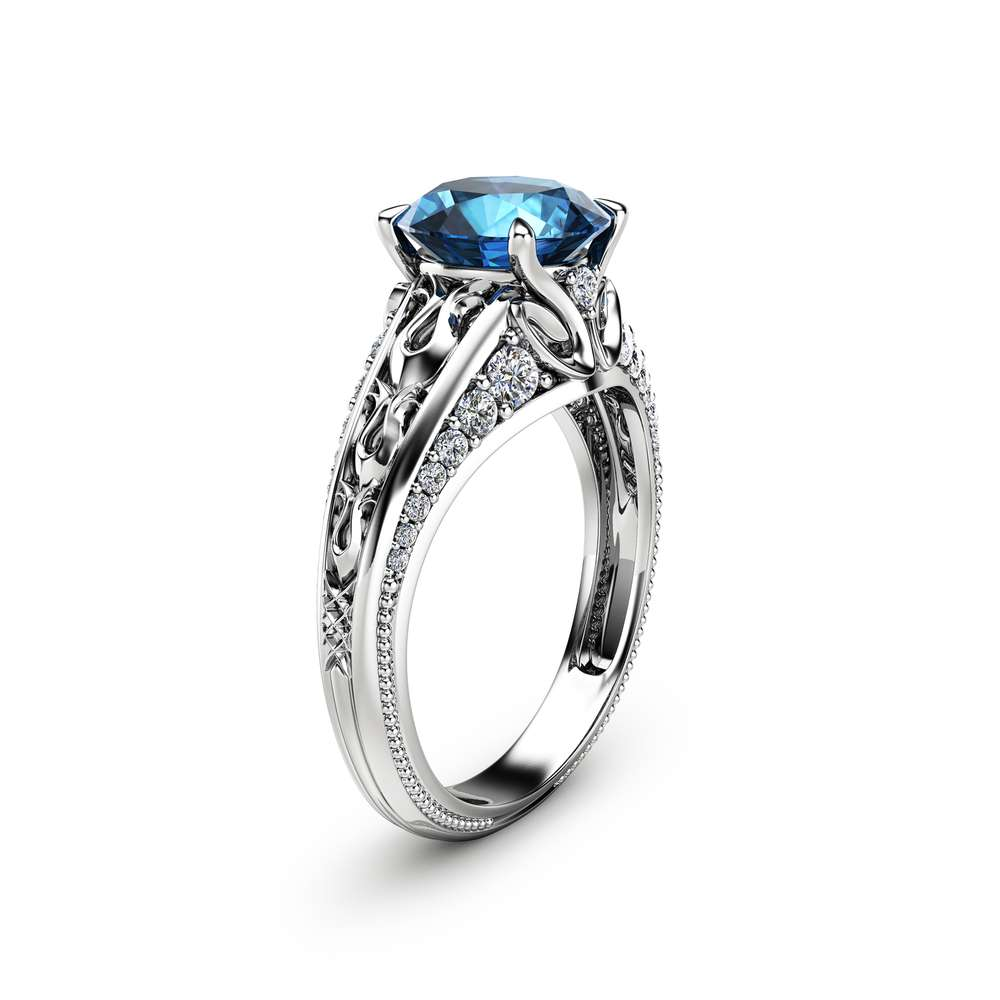 2ct Blue Topaz Engagement Ring 14k White Gold Engagement Ring Unique Diamonds Topaz Ring Camellia Jewelry For That Yes Moment