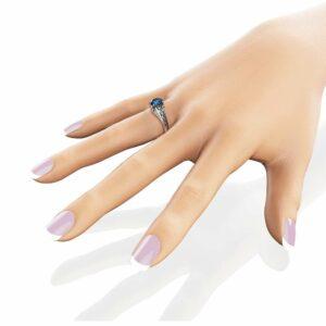 2ct Blue Topaz Engagement Ring 14K White Gold Engagement Ring Unique Diamonds Topaz Ring