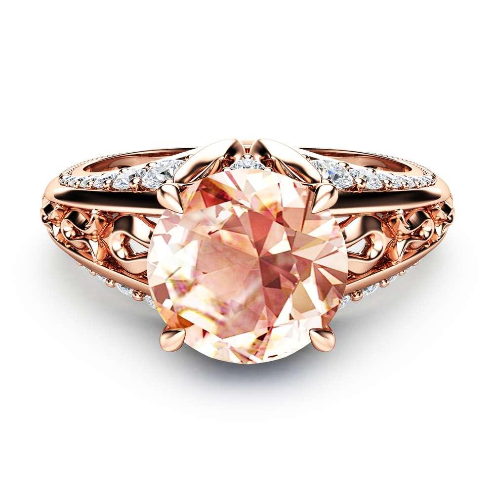 2 Carat Morganite Engagement Ring 14K Rose Gold Morganite Ring Unique Engagement Ring