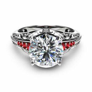 Unique Moissanite Engagement Ring Unique 14K White Gold Ring Ruby Moissanite Engagement Ring