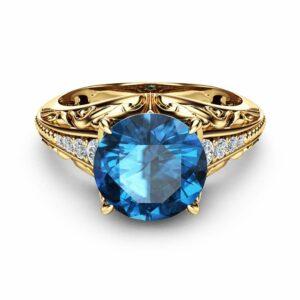 Unique Topaz Engagement Ring Unique 14K Yellow Gold Ring Diamonds Topaz Engagement Ring