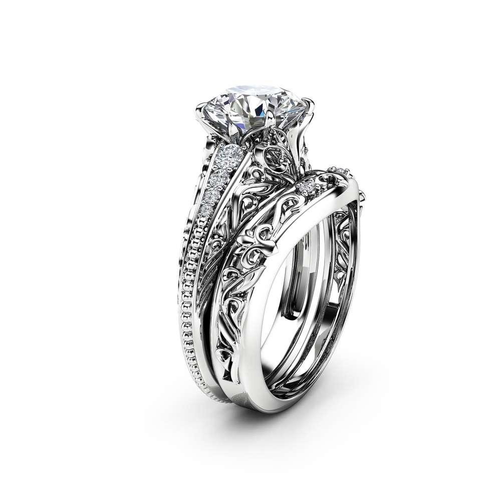 Art Deco Miligrain Moissanite Ring Set 14K White Gold Moissanite Engagement Ring Diamond Matching band