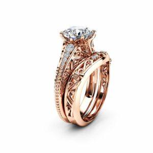 Rose Gold MIligrain Moissanite Bridal Set Unique 14K Rose Gold Engagement Ring Diamonds Matching Band