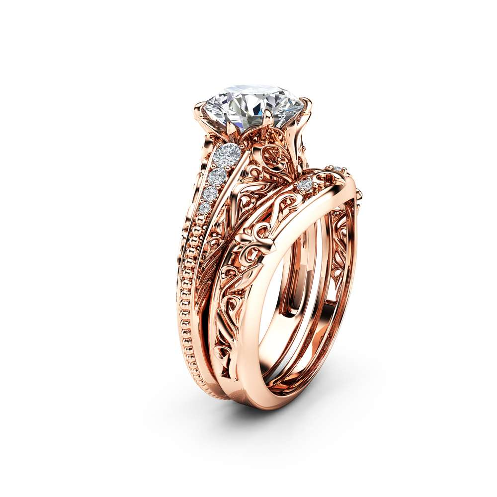 Rose Gold MIligrain Moissanite Bridal Set Unique 14K Rose Gold Engagement Ring Diamonds Matching Band