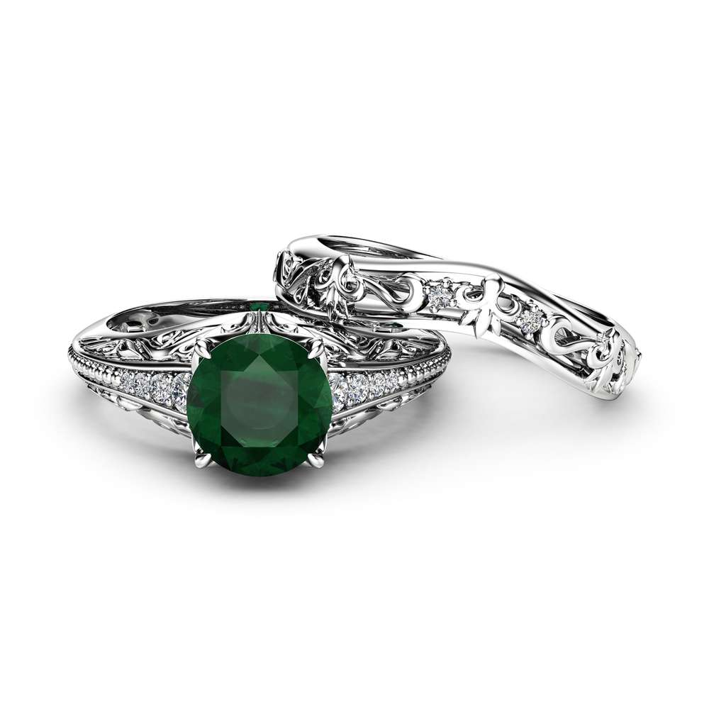 Natural Emerald Miligrain Ring Set 14K White Gold Rings Emerald Wedding Set Diamond Matching Band