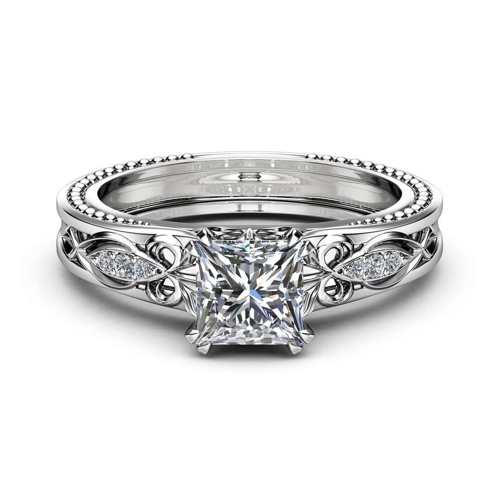 Victorian Moissanite Engagement Ring 14K White Gold Milgrain Ring Princess Moissanite Engagement Ring