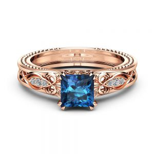 Topaz Victorian Engagement Ring 14K Rose Gold Milgrain Ring Princess Topaz Engagement Ring