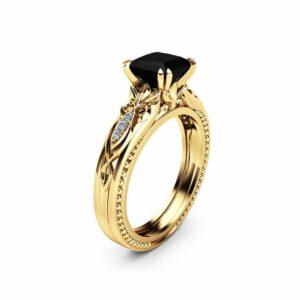 Black Diamond Victorian Engagement Ring 14K Yellow Gold Milgrain Ring Princess Black Diamond Engagement Ring