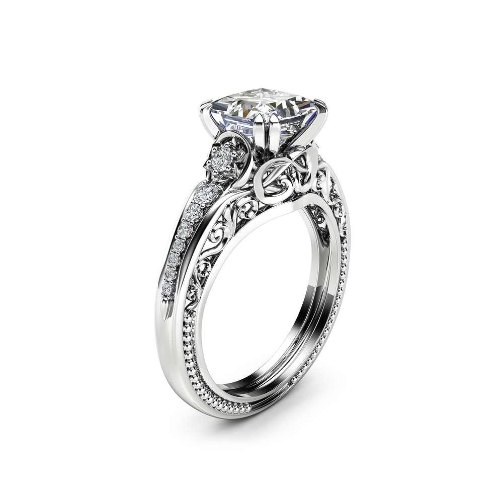 Square Moissanite Engagement Ring 14K White Gold Filigree Ring Princess 1.7CT Moissanite Engagement Ring