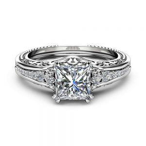 Square Moissanite Engagement Ring 14K White Gold Filigree Ring Princess 1.7CT Moissanite Engagement Ring