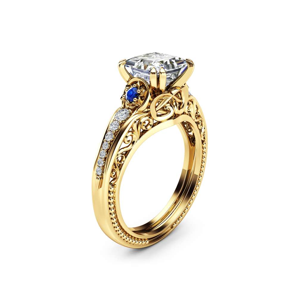 Square Moissanite Engagement Ring 14K Yellow Gold Filigree Ring Princess 1.7CT Moissanite Engagement Ring
