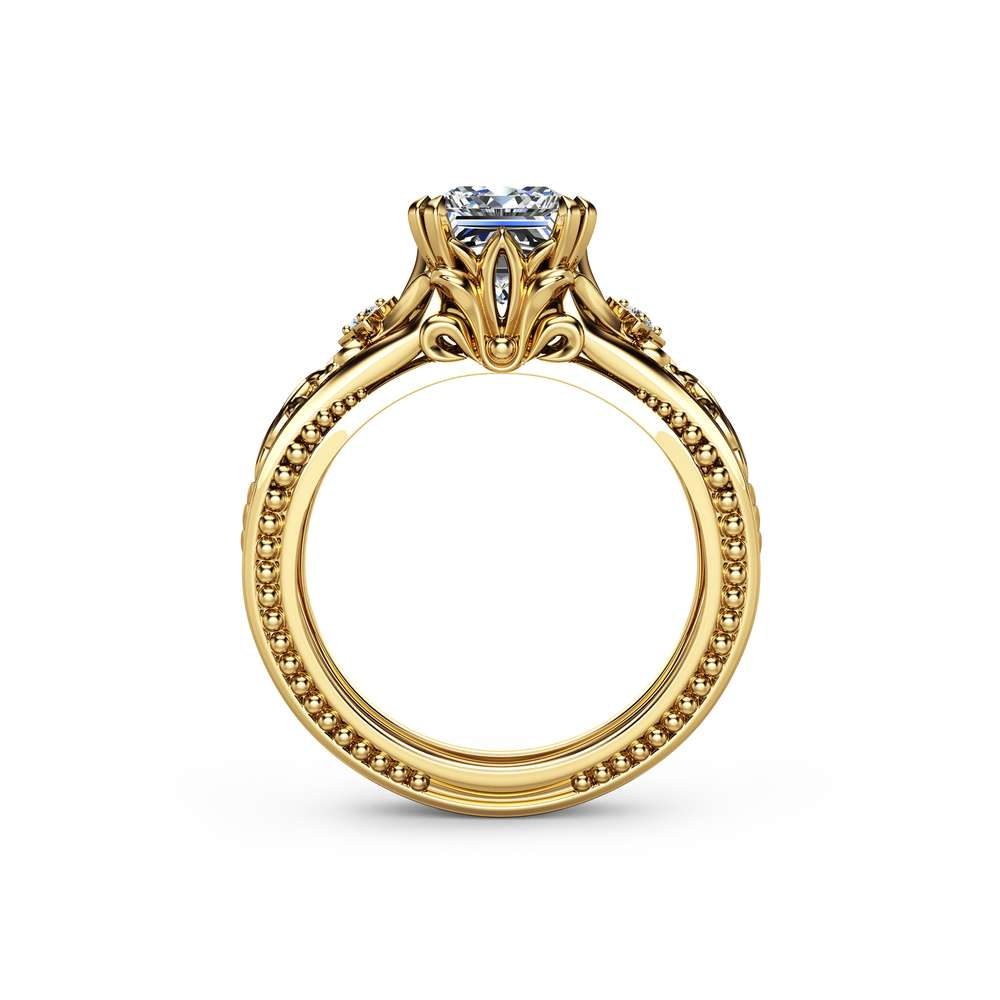 Square Moissanite Engagement Ring 14K Yellow Gold Filigree Ring Princess Moissanite Engagement Ring