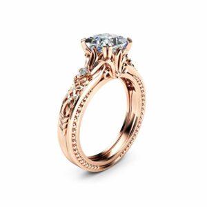 Square Moissanite Engagement Ring 14K Rose Gold Filigree Ring Princess Moissanite Engagement Ring