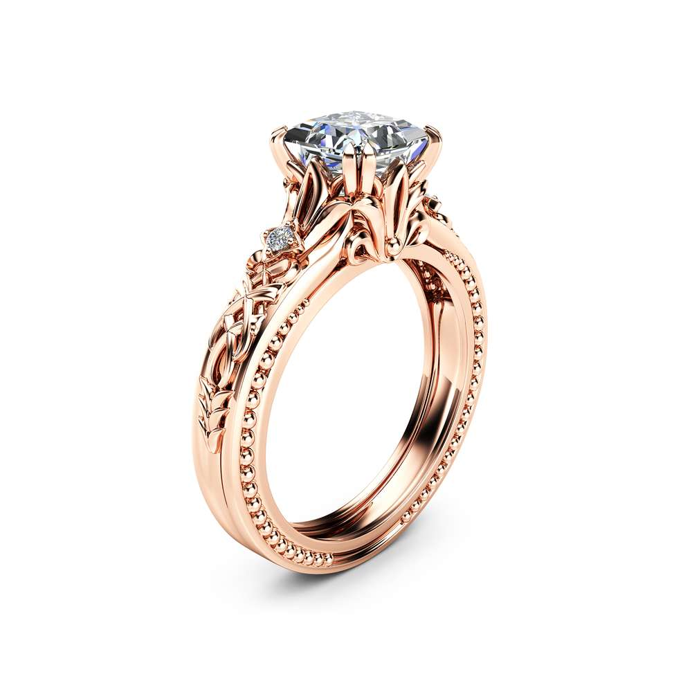 Square Moissanite Engagement Ring 14K Rose Gold Filigree Ring Princess Moissanite Engagement Ring
