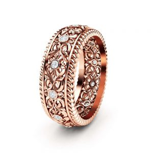Mens Wedding Band 14K Rose Gold Ring Art Deco Wedding Band