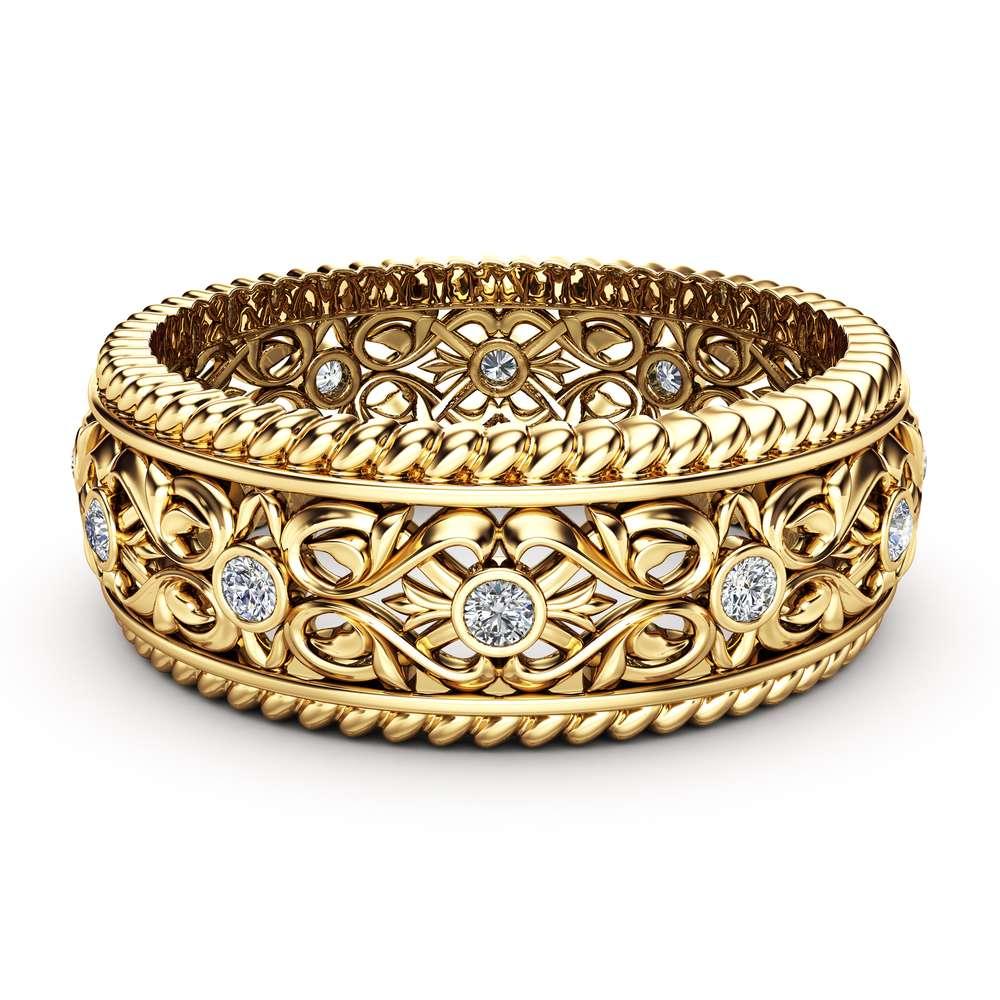 Mens Wedding Band Gold Wedding Ring Art Deco Wedding Band