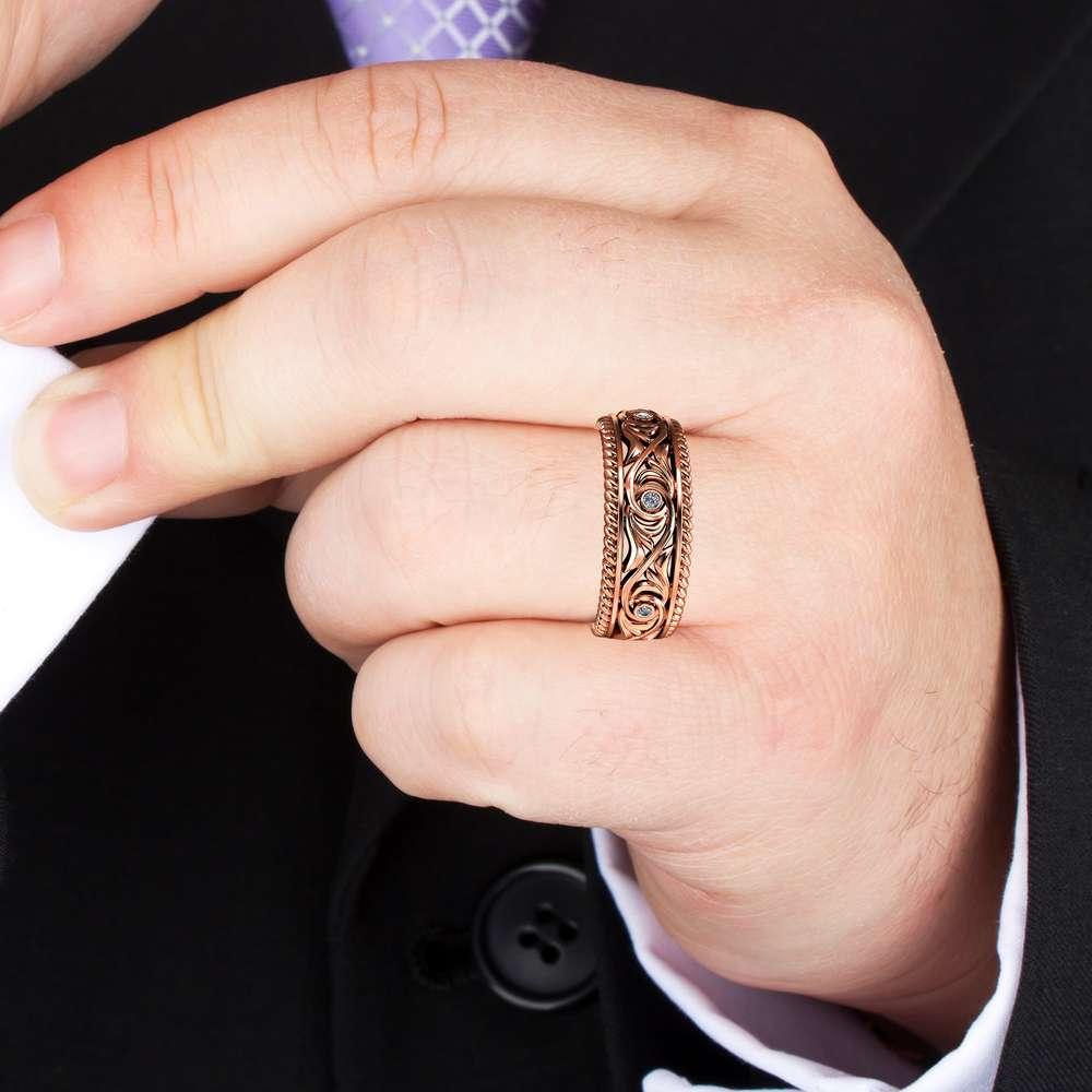Diamond Wedding Ring 14K Rose Gold Ring Unique Men's Wedding Band