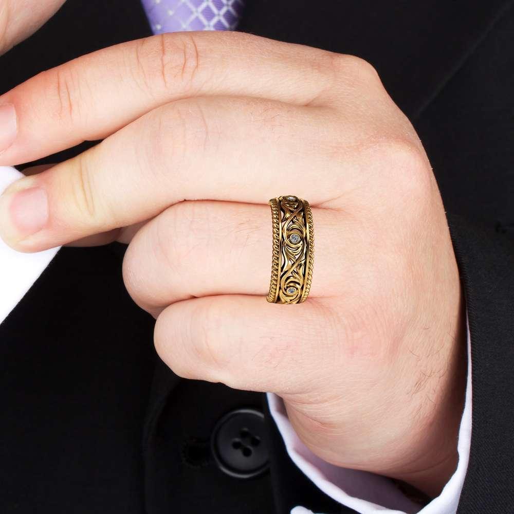 Diamond Wedding Ring 14K Yellow Gold Ring Art Deco Men's Wedding Band