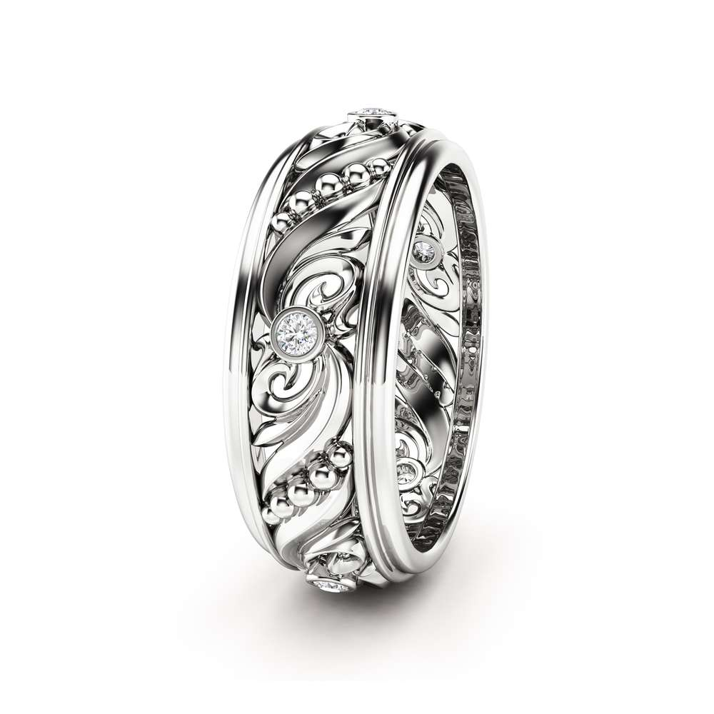 Diamond Wedding Ring Vintage Wedding Band Art Deco Wedding Band
