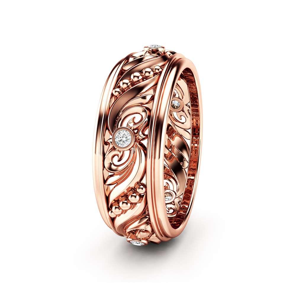 Diamond Wedding Ring 14K Rose Gold Wedding Band Art Deco Wedding Band