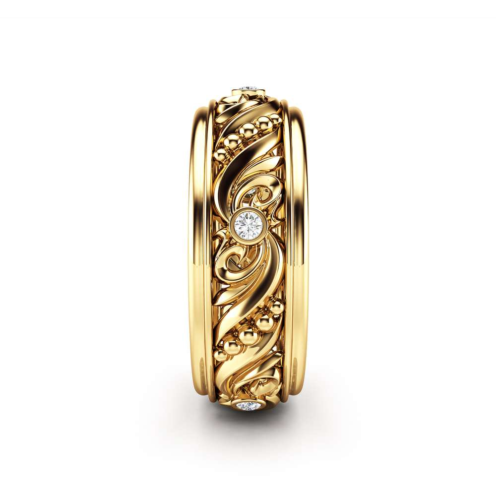 Diamond Wedding Rings Gold Wedding Band Art Deco Wedding Band